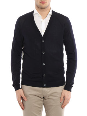 Prada: cardigans online - Virgin wool two-tone cardigan