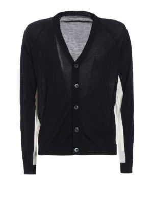Prada: cardigans - Virgin wool two-tone cardigan