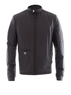 Prada: casual jackets - Biker style black nylon jacket