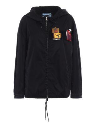 Prada: casual jackets - Nylon gabardine patch windbreaker