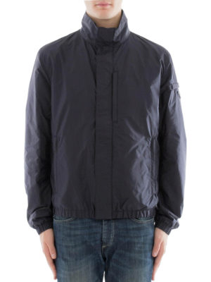 Prada: casual jackets online - Elastic edges zipped nylon jacket
