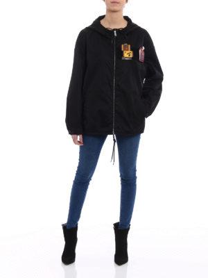 Prada: casual jackets online - Nylon gabardine patch windbreaker