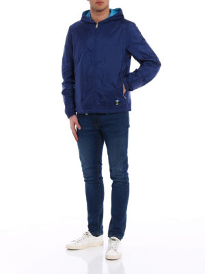Prada: casual jackets online - Reversible blue hooded jacket