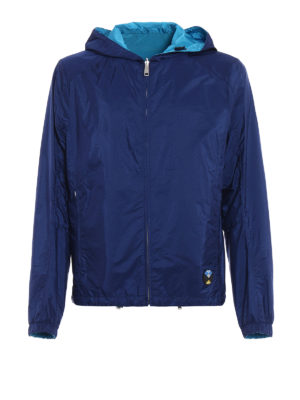 Prada: casual jackets - Reversible blue hooded jacket