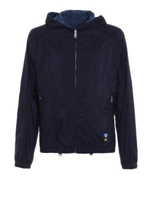 Prada: casual jackets - Reversible dark blue hooded jacket