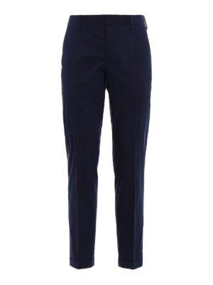 Prada: casual trousers - Blue techno poplin chino trousers