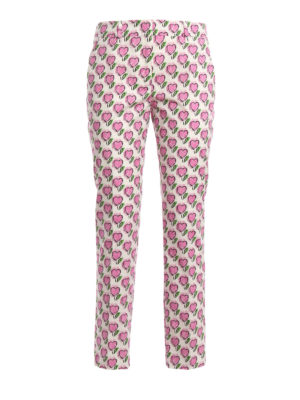 Prada: casual trousers - Heart print cotton trousers