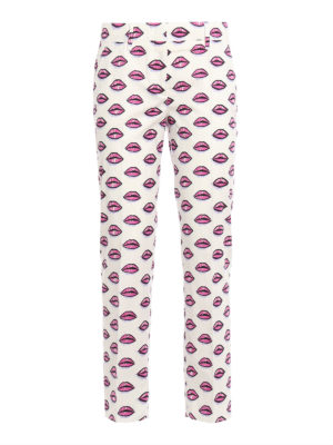 Prada: casual trousers - Kiss print cotton trousers