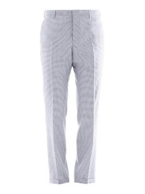 Prada: casual trousers - Micro check pattern wool trousers