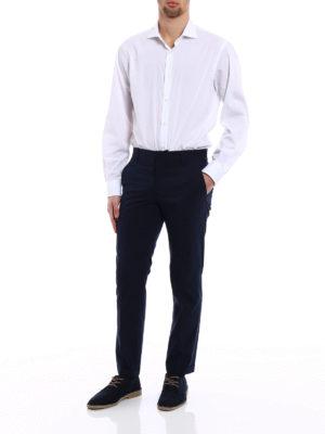 Prada: casual trousers online - Blue techno poplin chino trousers