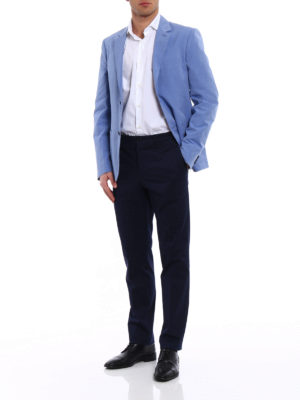 Prada: casual trousers online - Gabardine dark blue trousers