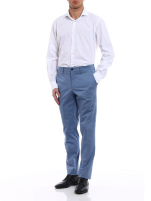 Prada: casual trousers online - Gabardine light blue trousers