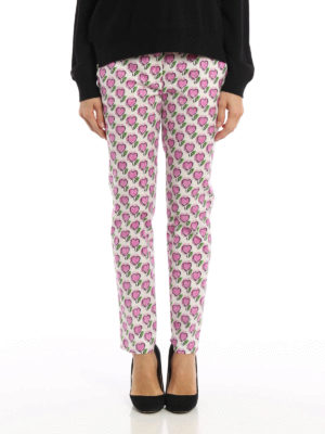 Prada: casual trousers online - Heart print cotton trousers