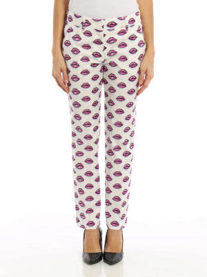 Prada: casual trousers online - Kiss print cotton trousers