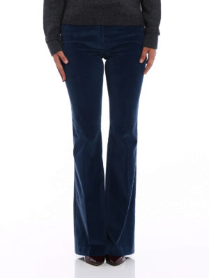 Prada: casual trousers online - Light blue corduroy flared trousers