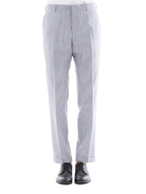 Prada: casual trousers online - Micro check pattern wool trousers