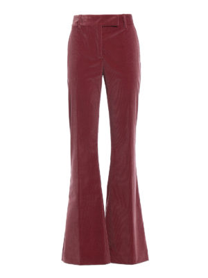 Prada: casual trousers - Pink corduroy flared trousers
