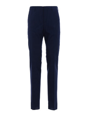 Prada: casual trousers - Wool blend micro patterned trousers