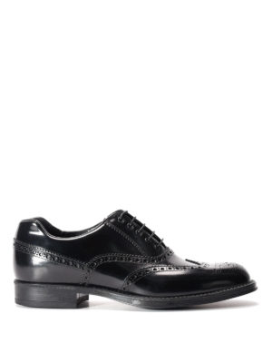 Prada: classic shoes - Brushed leather Oxford brogue shoes