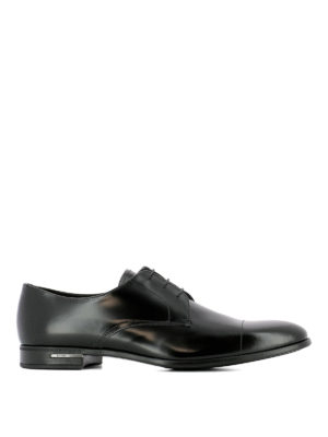 Prada: classic shoes - Derby polished leather black shoes