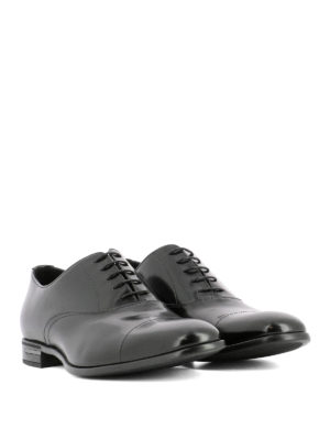 Prada: classic shoes online - Black leather Oxford shoes