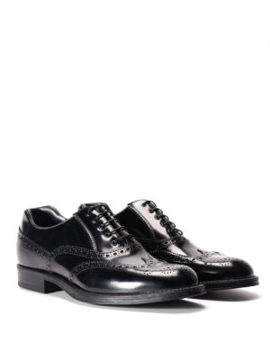 Prada: classic shoes online - Brushed leather Oxford brogue shoes