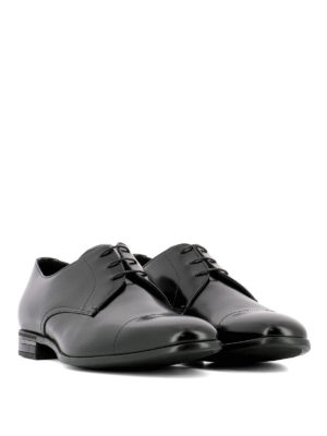Prada: classic shoes online - Derby polished leather black shoes
