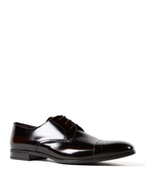 Prada: classic shoes online - Polished leather Derby brogue shoes