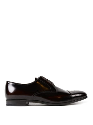 Prada: classic shoes - Polished leather Derby brogue shoes