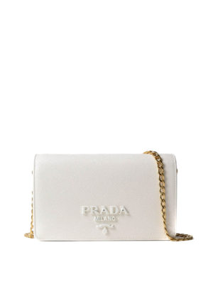 Prada: clutches - Monochrome saffiano wallet bag