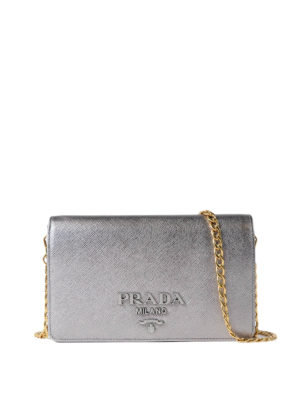 Prada: clutches - Monochrome silver wallet bag