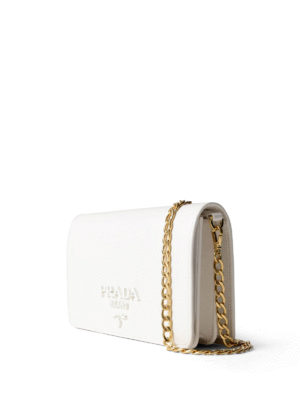 Prada: clutches online - Monochrome saffiano wallet bag