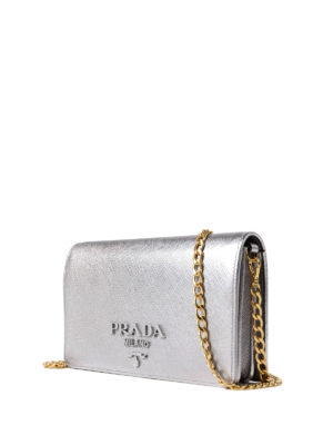 Prada: clutches online - Monochrome silver wallet bag