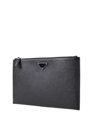 Prada: clutches online - Saffiano leather pouch