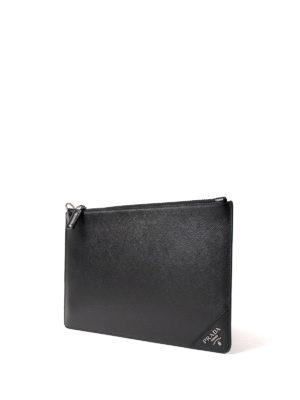 Prada: clutches online - Silver-tone logo saffiano clutch