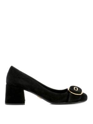 Prada: court shoes - Buckle detail suede low pumps