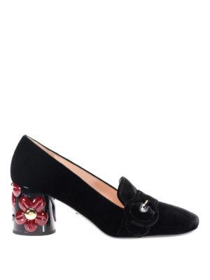 Prada: court shoes - Embellished heel velvet pumps