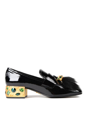 Prada: court shoes - Embellished patent leather pumps