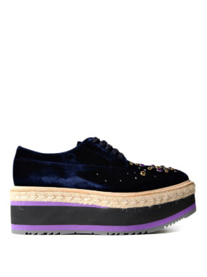 Prada: court shoes - Embellished velvet wedge sneakers