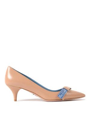 Prada: court shoes - Etiquette bow nude goatskin pumps
