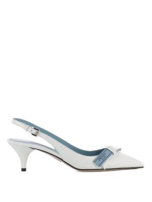 Prada: court shoes - Etiquette bow white slingback pumps
