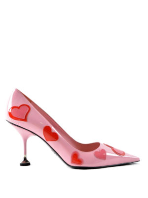Prada: court shoes - Heart patch patent leather pumps