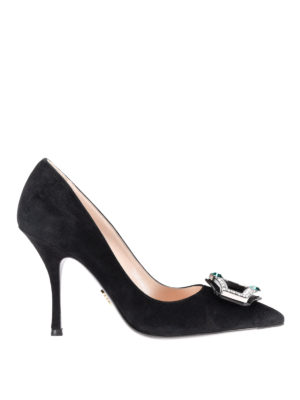 Prada: court shoes - Jewel buckle suede pumps