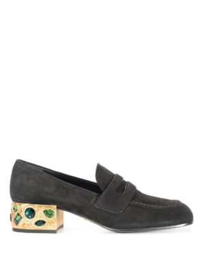 Prada: court shoes - Jewel heel suede court shoes