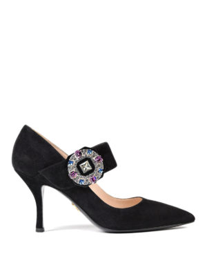 Prada: court shoes - Jewel suede Mary Jane pumps