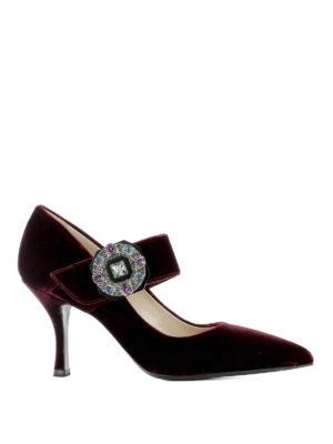 Prada: court shoes - Jewel velvet pointy Mary Janes