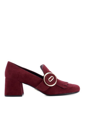 Prada: court shoes - Loafers-inspired suede pumps