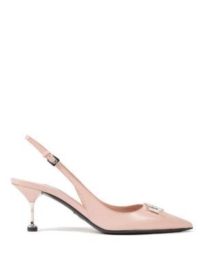PRADA: scarpe décolleté - Slingback in pelle con logo