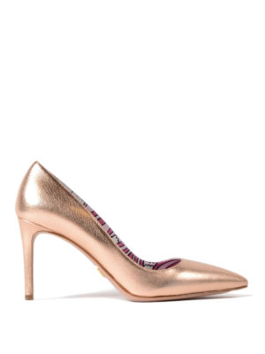 Prada: court shoes - Metallic madras leather pumps