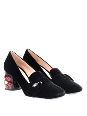 Prada: court shoes online - Embellished heel velvet pumps
